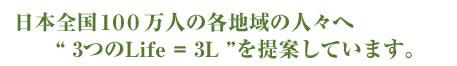 """日本全国100万人の各地域の人々へ3つの""""Life""""=3Lを提案しています。"""